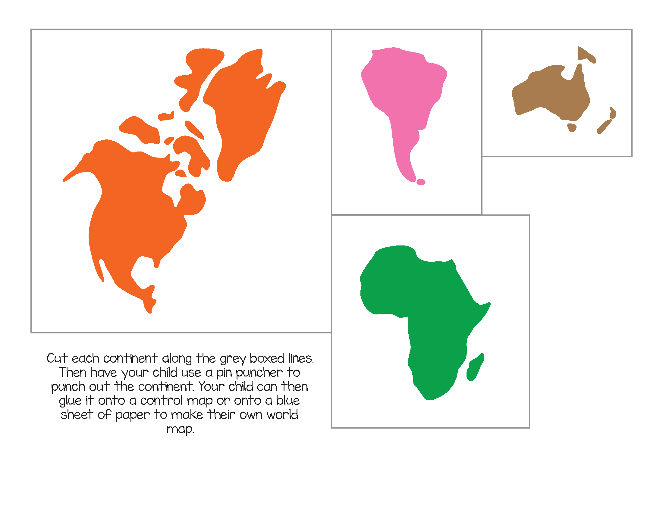 Montessori World Map And Continents - Gift Of Curiosity - Montessori World Map Free Printable