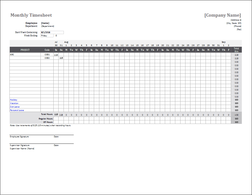 Monthly Timesheet Template For Excel And Google Sheets - Monthly Timesheet Template Free Printable