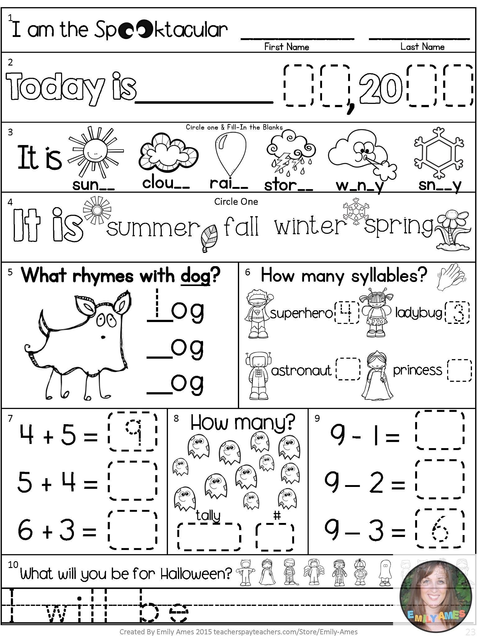 Morning Work-October First Grade Packet | Ela Elementary | Morning - Free Printable 4Th Grade Morning Work