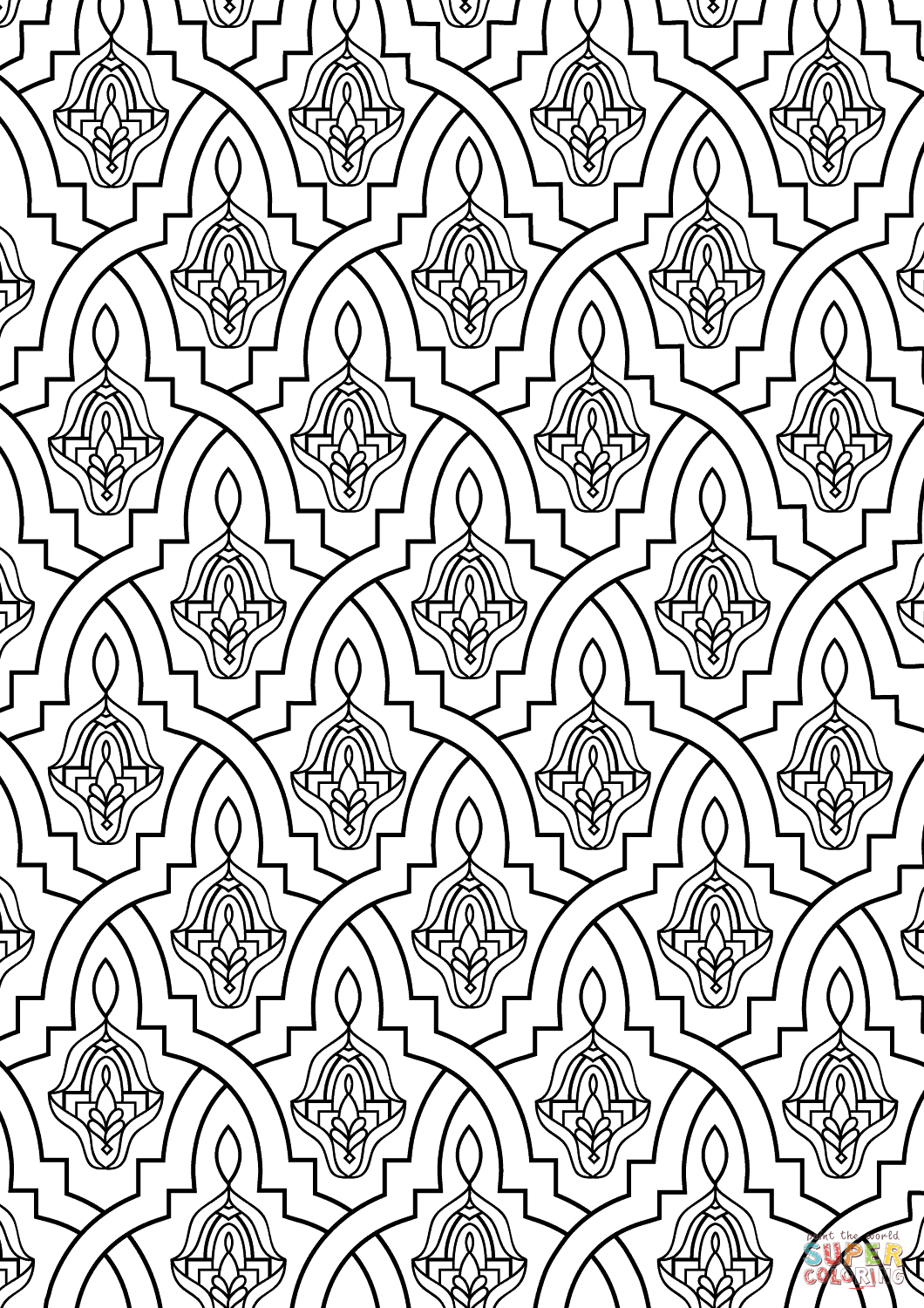Moroccan Tile Coloring Page | Free Printable Coloring Pages - Free Printable Moroccan Pattern