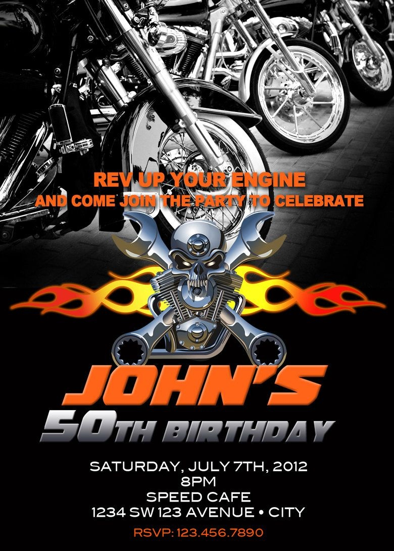 Motorcycle Invitation Printable File Diy - Bike Birthday Invitation - Motorcycle Invitations Free Printable