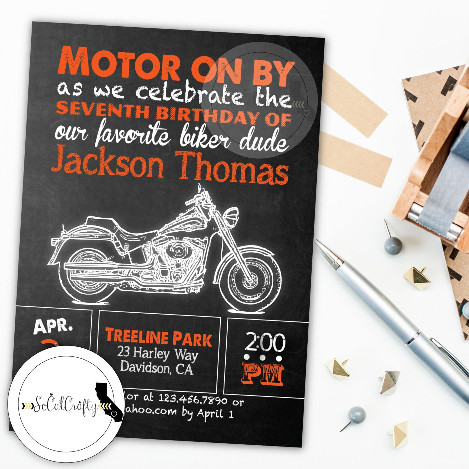 Motorcycle Invite Motorcycle Birthday Motorcycle Party | Etsy - Motorcycle Invitations Free Printable