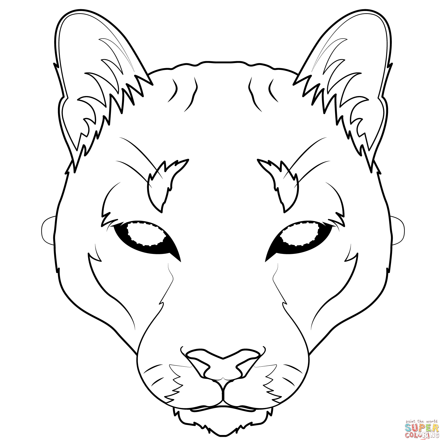 Mountain Lion Mask Coloring Page | Free Printable Coloring Pages - Free Printable Lion Mask