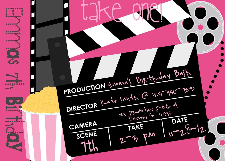 Movie Birthday Party Invitations Printable Free - Free Printable Movie Themed Invitations