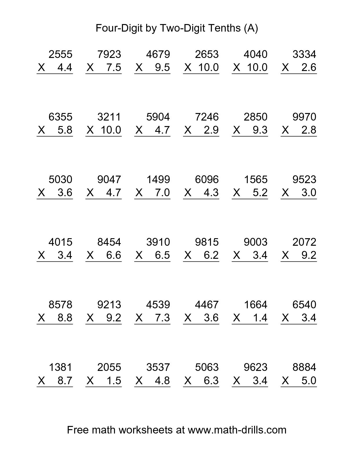 Multiplication Worksheets With Decimals : Cmediadrivers - Free Printable Multiplying Decimals Worksheets