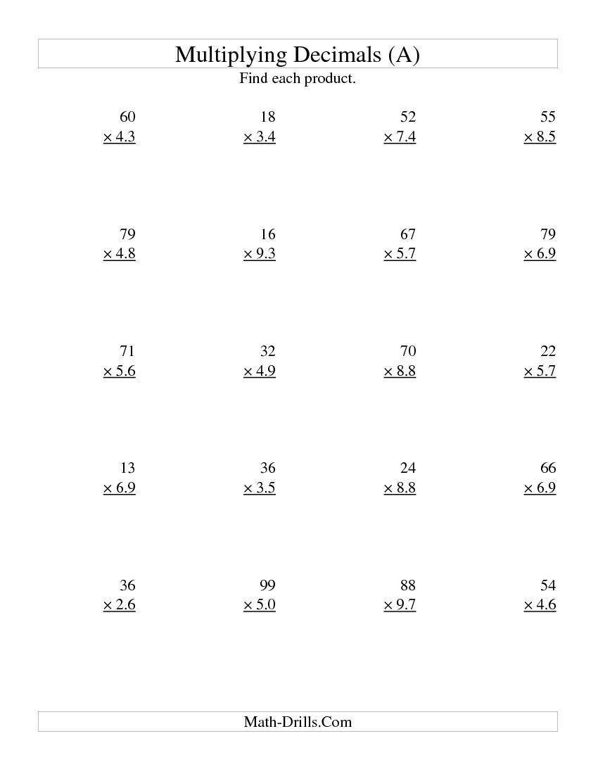 Multiplying Two-Digit Wholetwo-Digit Tenths (All)   My Board - Free Printable Multiplying Decimals Worksheets