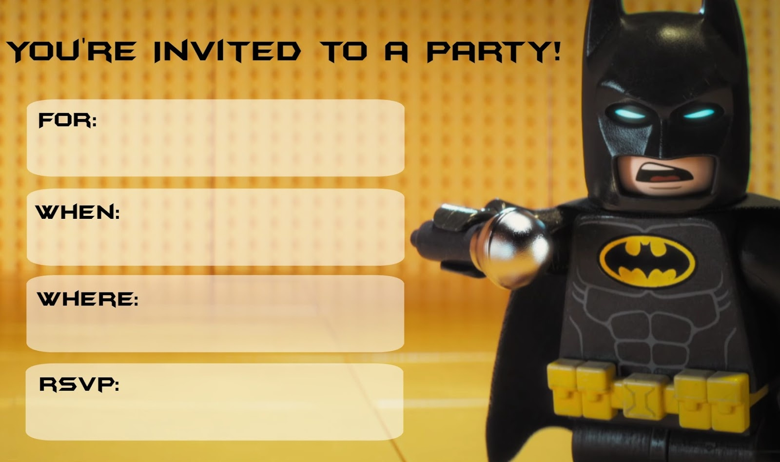 Musings Of An Average Mom: Lego Batman Movie Party Invitations - Lego Batman Party Invitations Free Printable
