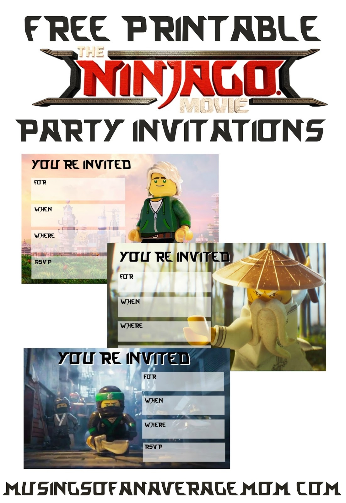 Musings Of An Average Mom: September 2017 - Lego Ninjago Party Invitations Printable Free