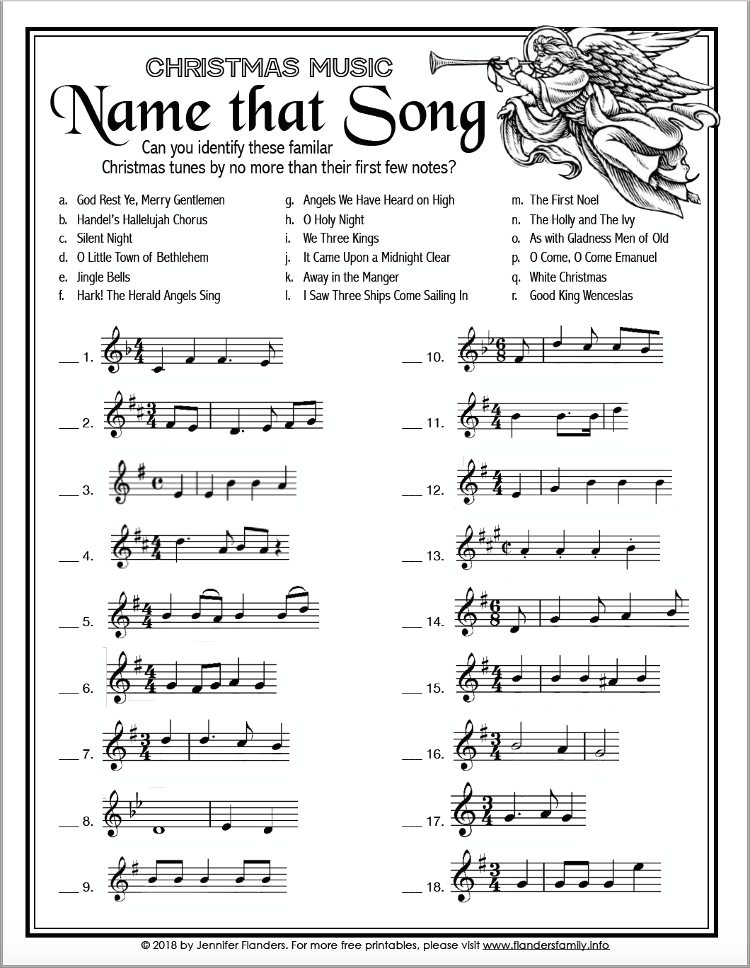 Name That Song (Free Printable Christmas Game) - Flanders Family - Free Printable Christmas Song Picture Game