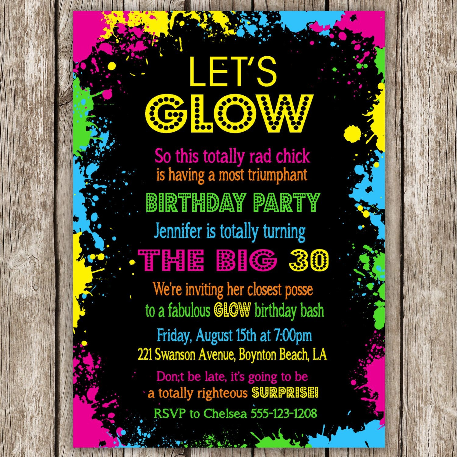Neon Party Invitation Wording | Glow In The Dark | Neon Party - Free Printable Glow In The Dark Birthday Party Invitations