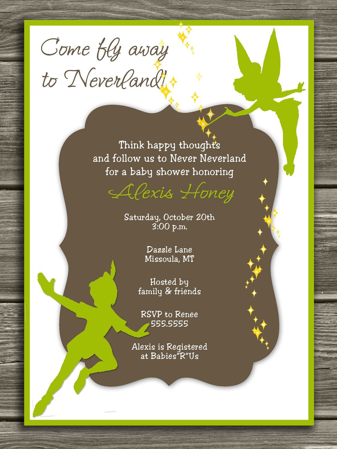 Neverland Baby Shower Invitation - Free Thank You Card Included - Free Printable Tinkerbell Baby Shower Invitations
