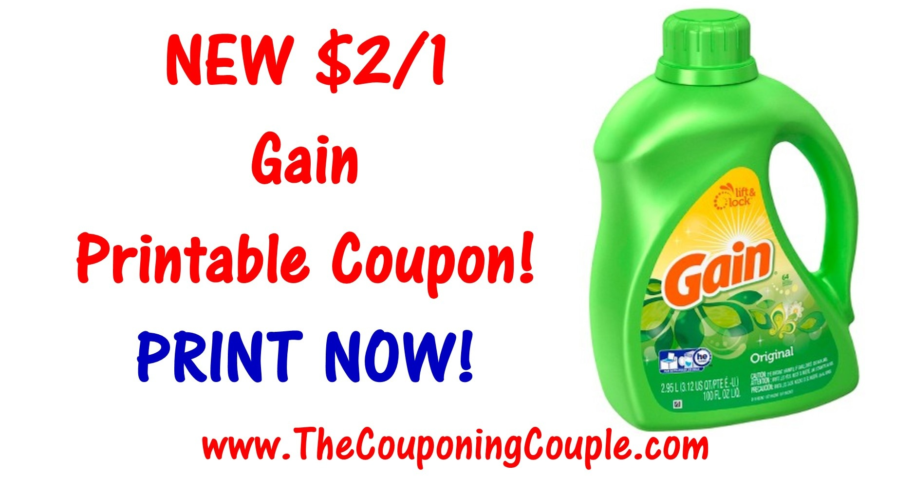 New Gain Printable Coupon ~ Print $2/1 Coupon Now! - Free Detergent Coupons Printable