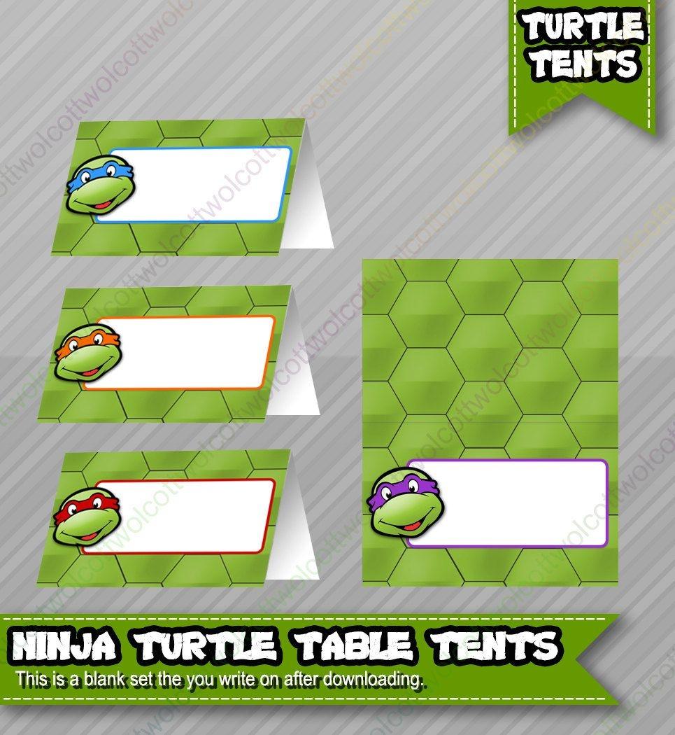 Ninja Turtles Birthday Food Table Tents Cards Blank - Instant - Free Printable Tmnt Food Labels