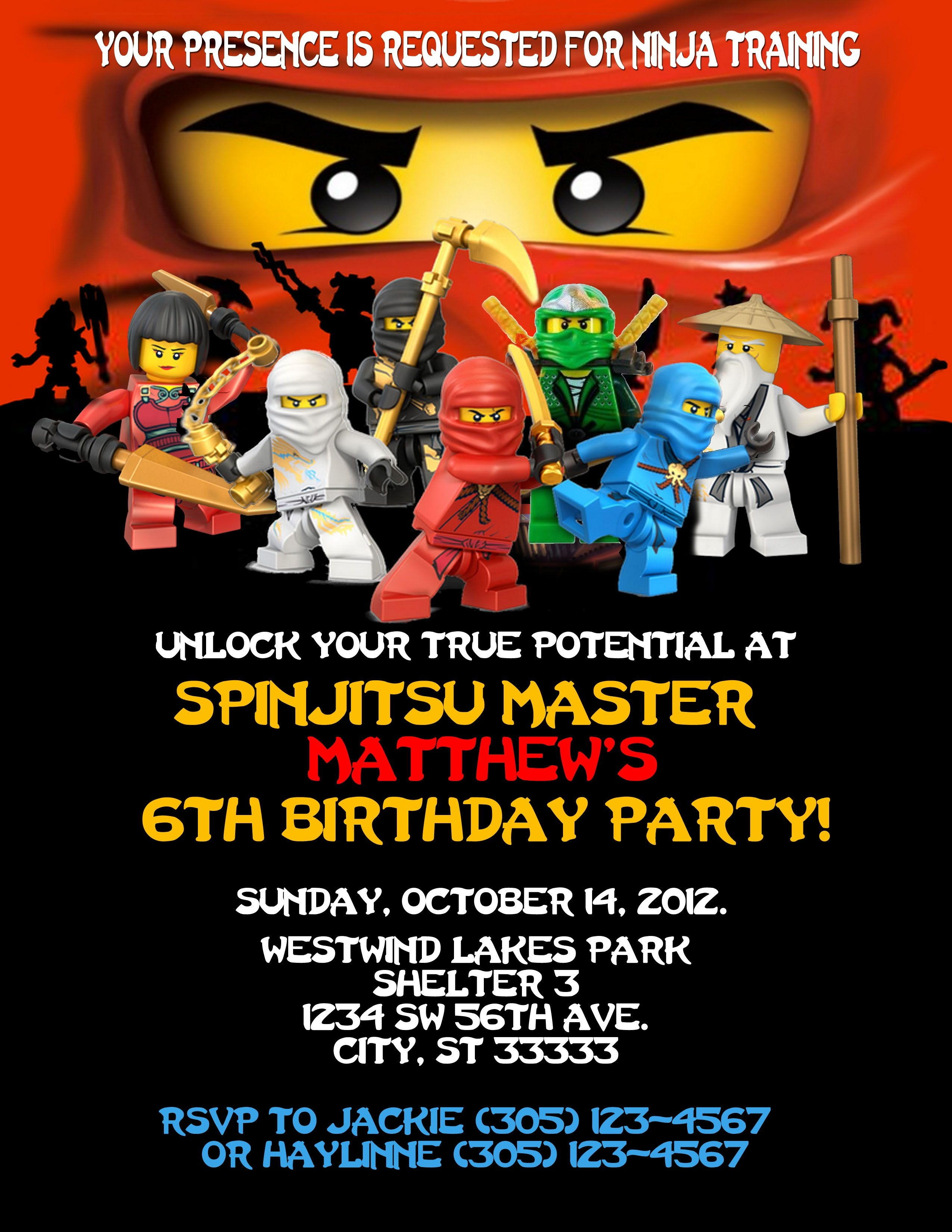 Ninjago Birthday Invitation. Created On Photoshop. Can Customize For - Lego Ninjago Party Invitations Printable Free
