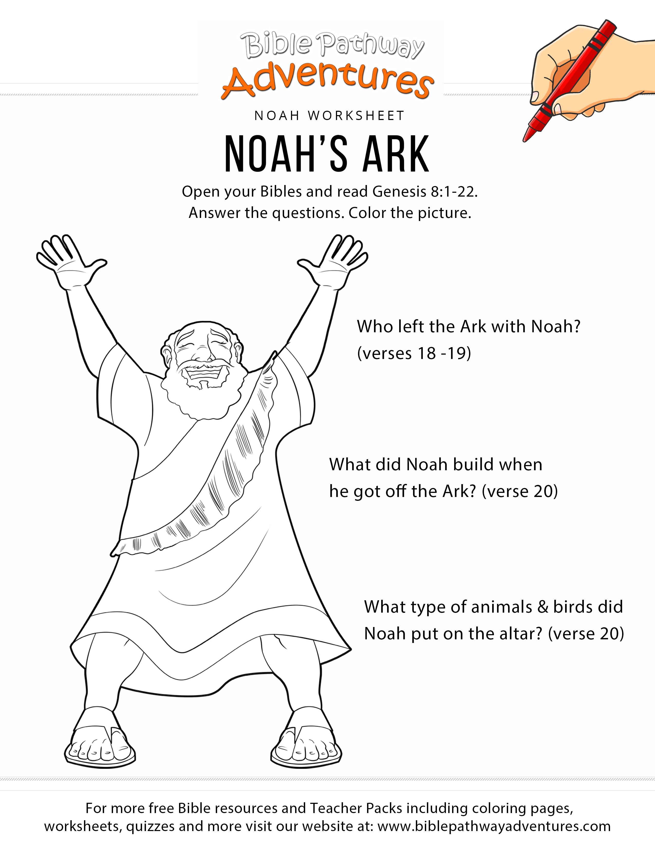 Noah's Ark Worksheet And Coloring Page | Bible Study For Kids - Free Printable Children's Bible Lessons