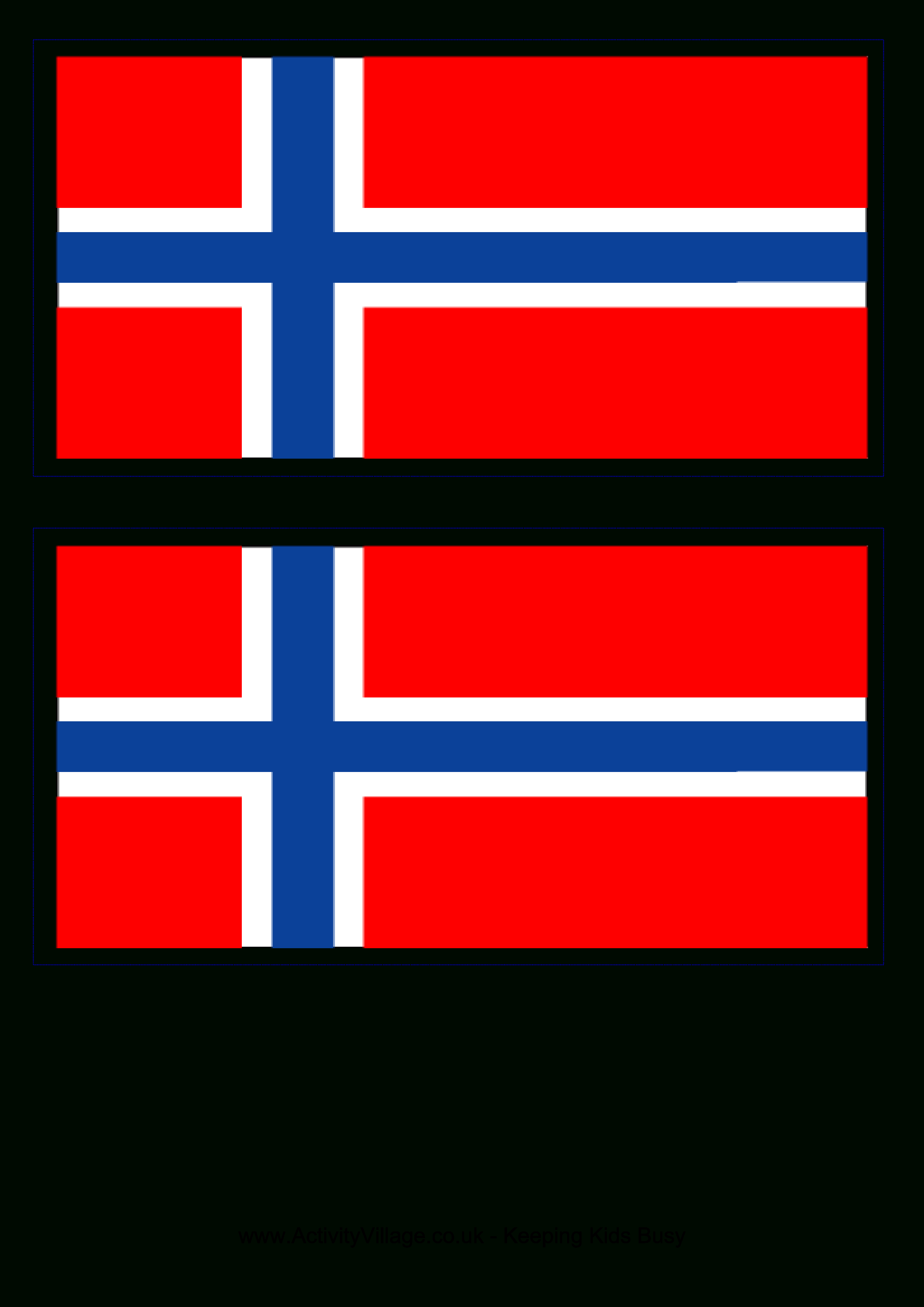 Norwegian Flag - Download This Free Printable Norwegian Template A4 - Free Printable Flags From Around The World