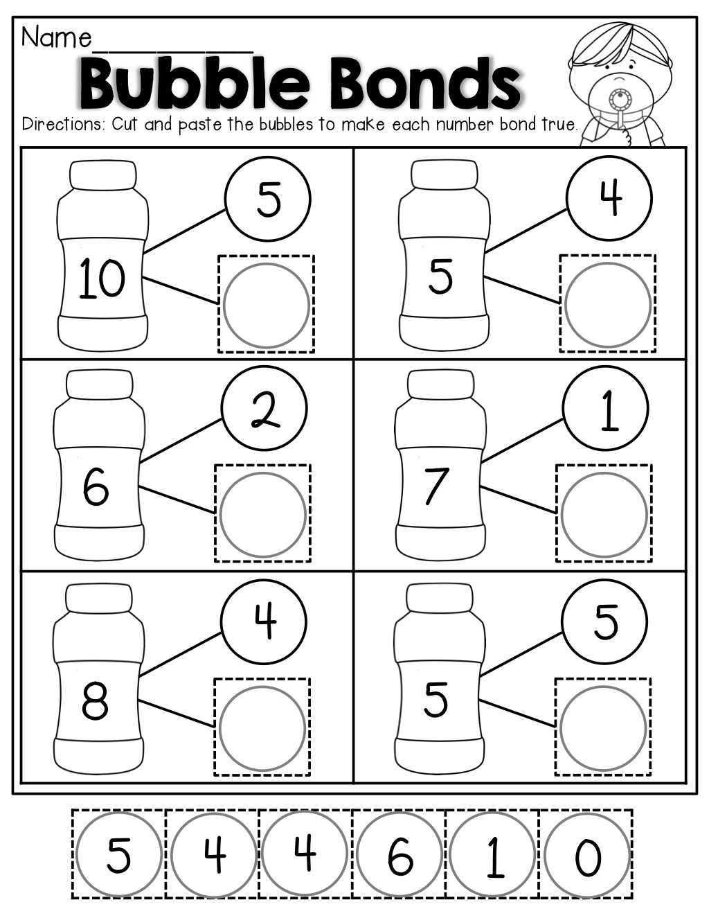 Number Bubble Bonds (Cut And Paste) | Kindergarten Activities - Free Printable Number Bonds Worksheets For Kindergarten