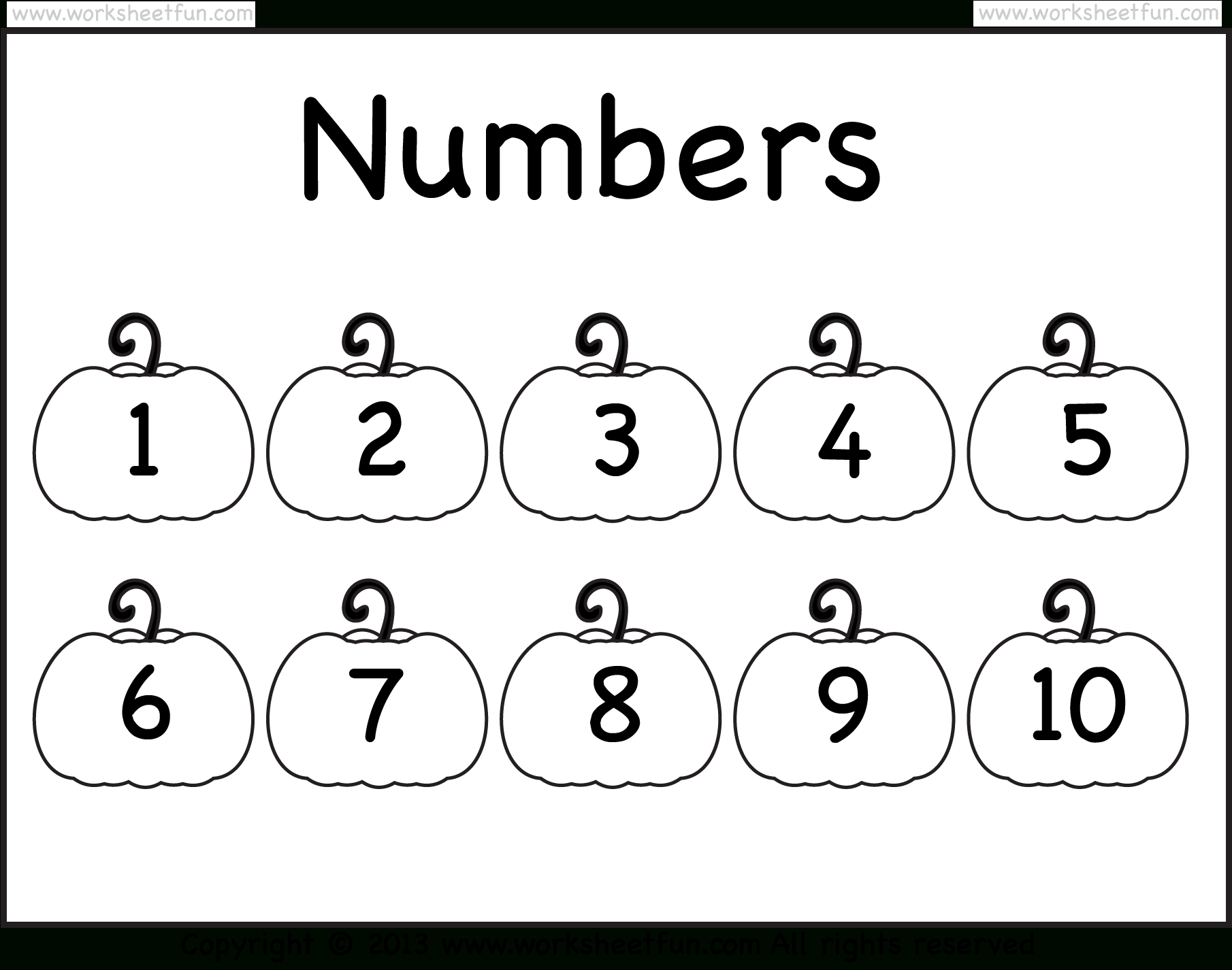 Number Chart – 1-10 – Worksheet / Free Printable Worksheets - Free Printable Number Chart 1 10