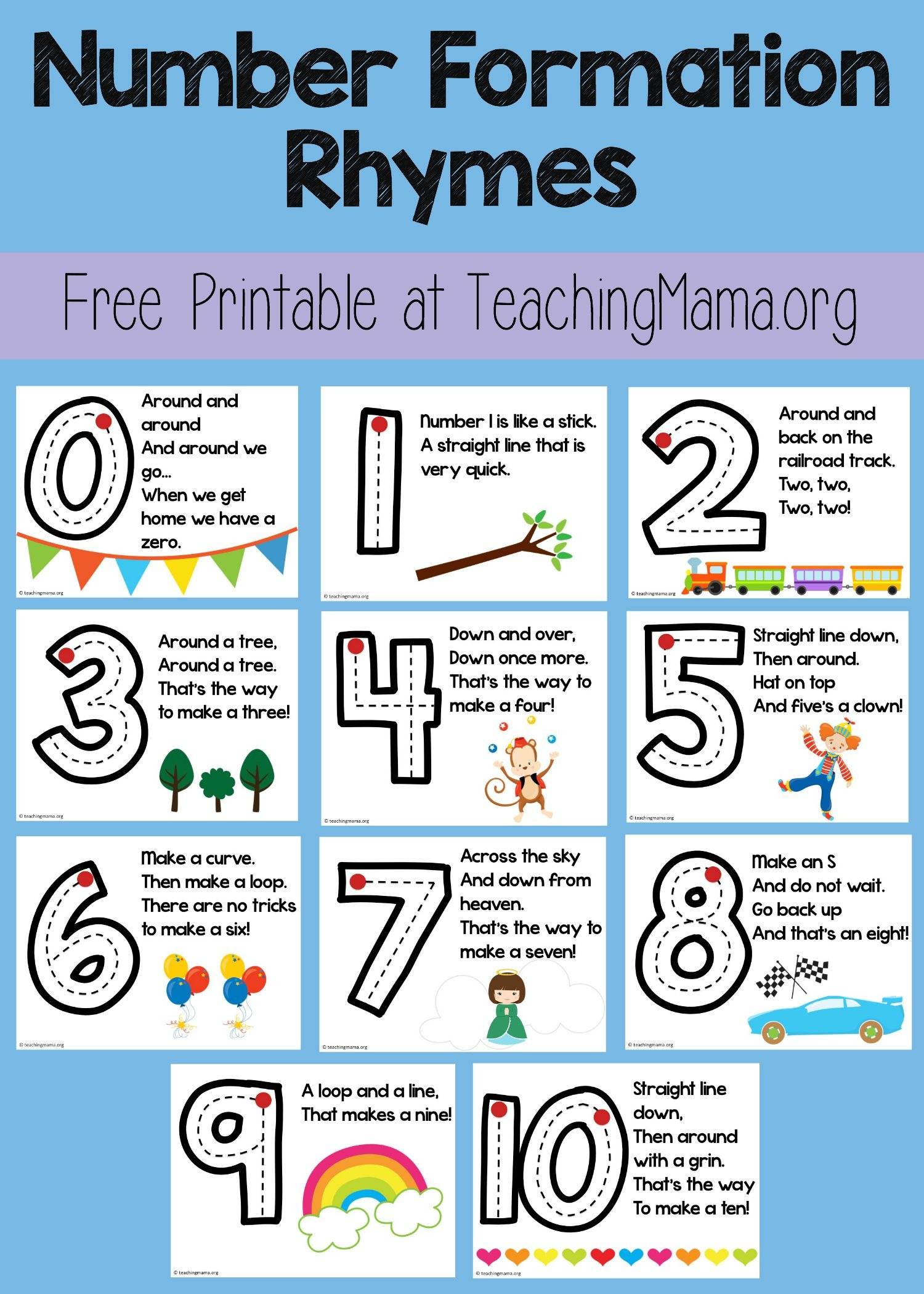 Number Formation Rhymes - Teaching Mama - Free Printable Number Posters