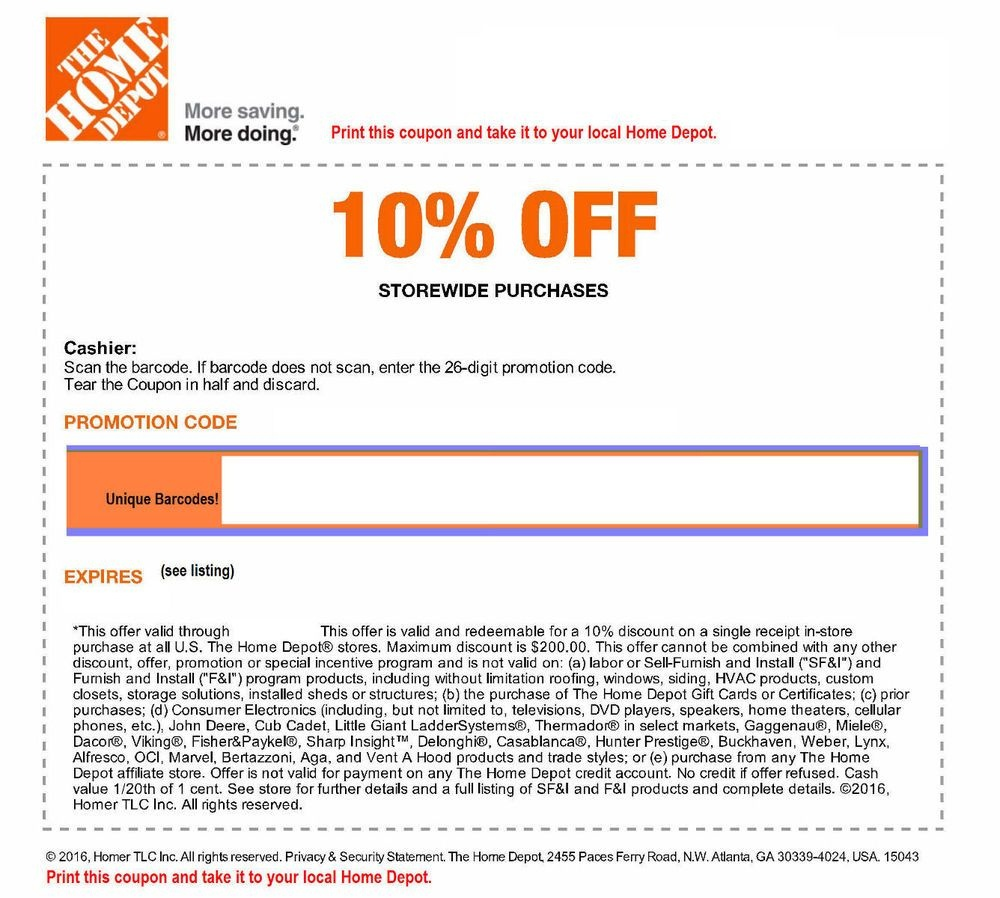 One (1X) Home Depot 10% Off-Coupons Save Up To $200 In Store Only - Free Printable Home Depot Coupons