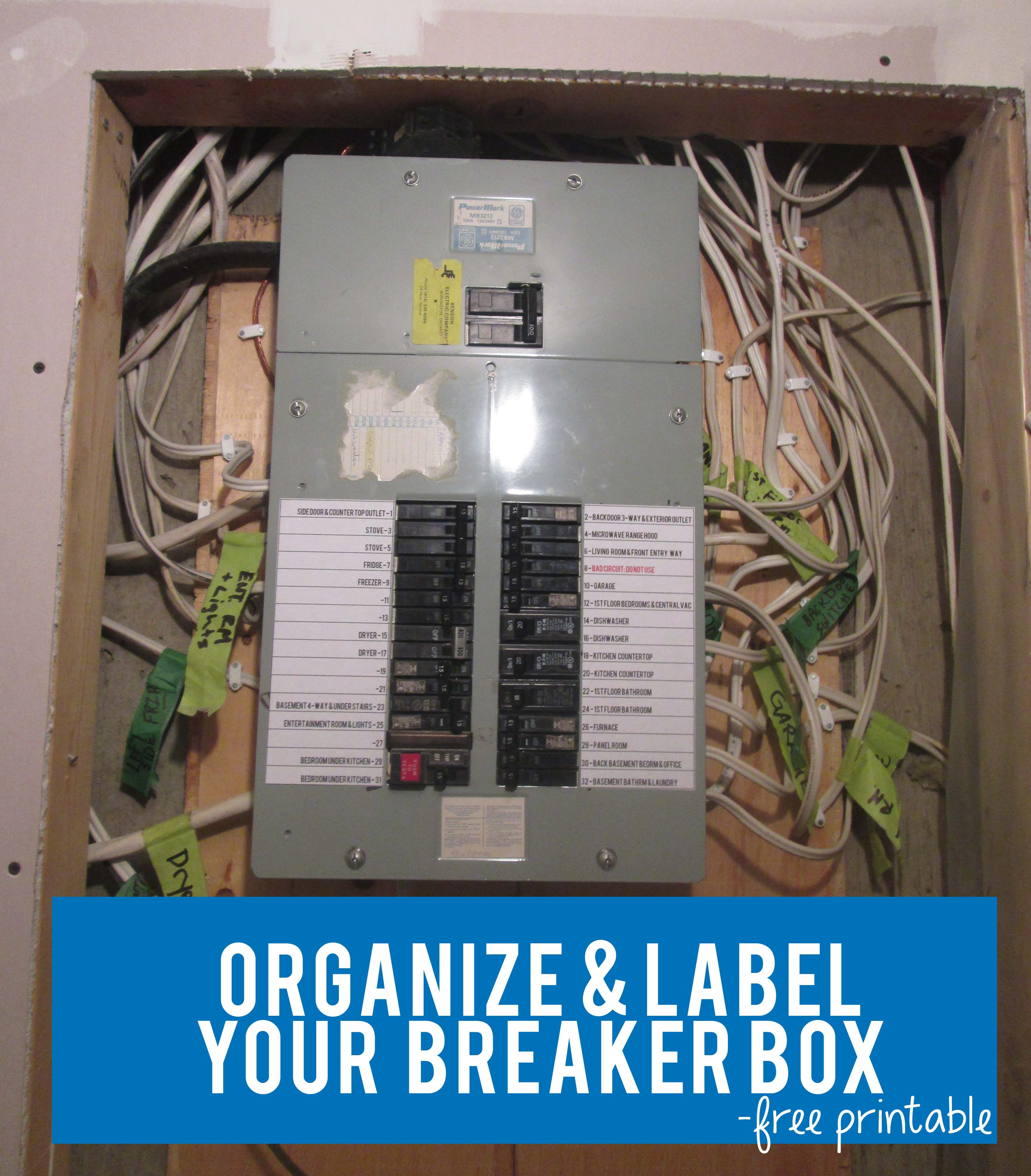 Organize & Label Your Circut Breaker Box With Free Circuit Label - Free Printable Circuit Breaker Panel Labels