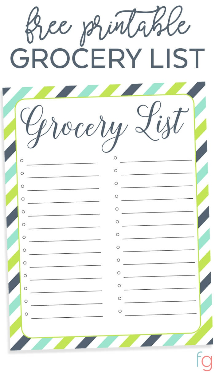 Organizing Grocery List - Free Printable - Free Printable Grocery List