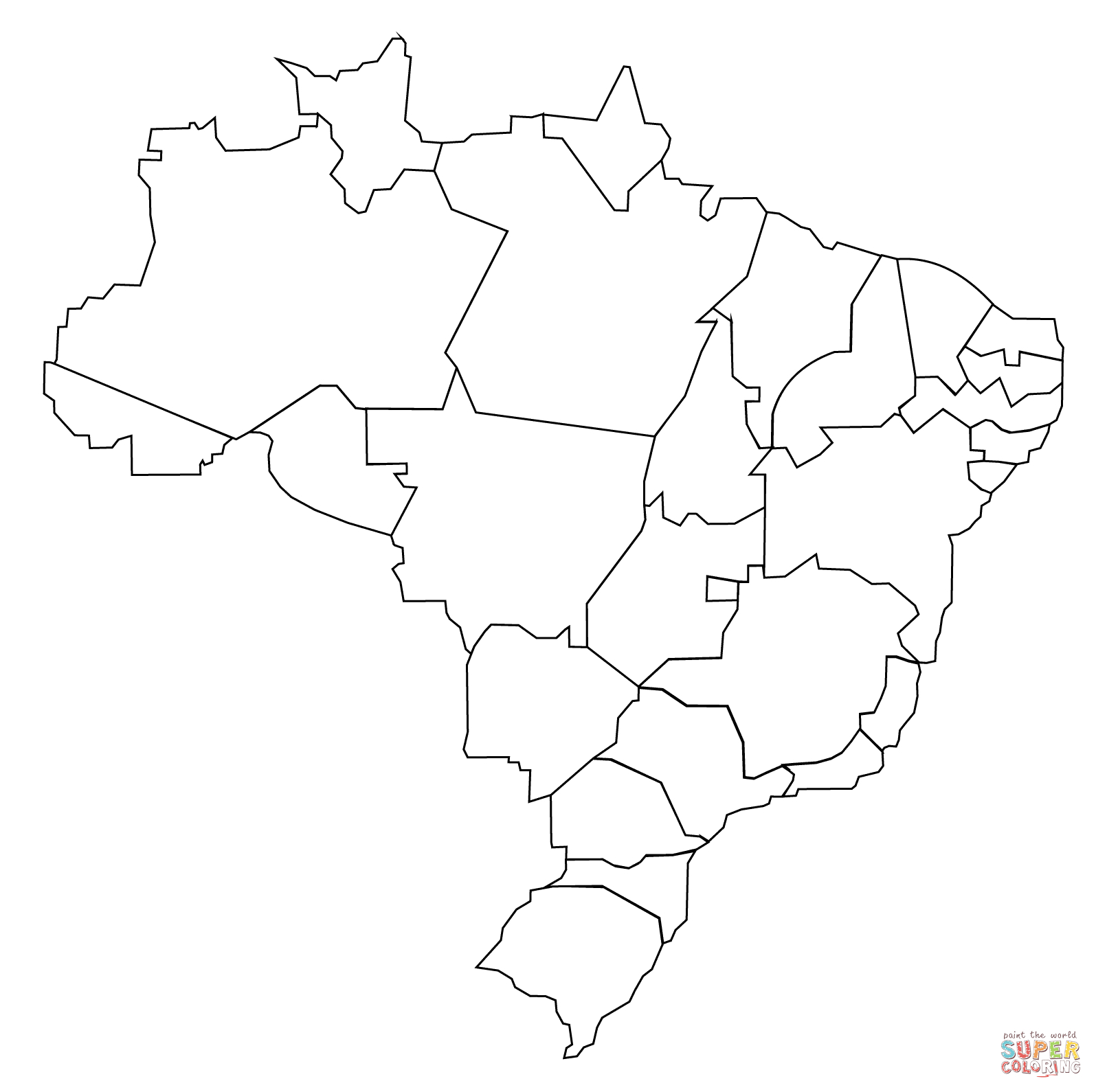 Outline Map Of Brazil With States Coloring Page | Free Printable - Free Printable Map Of Brazil