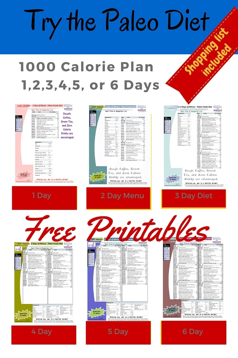 Paleo Diet: 1000 Calories Per Day - Menu Plan For Weight Loss - Free Printable Meal Plans For Weight Loss