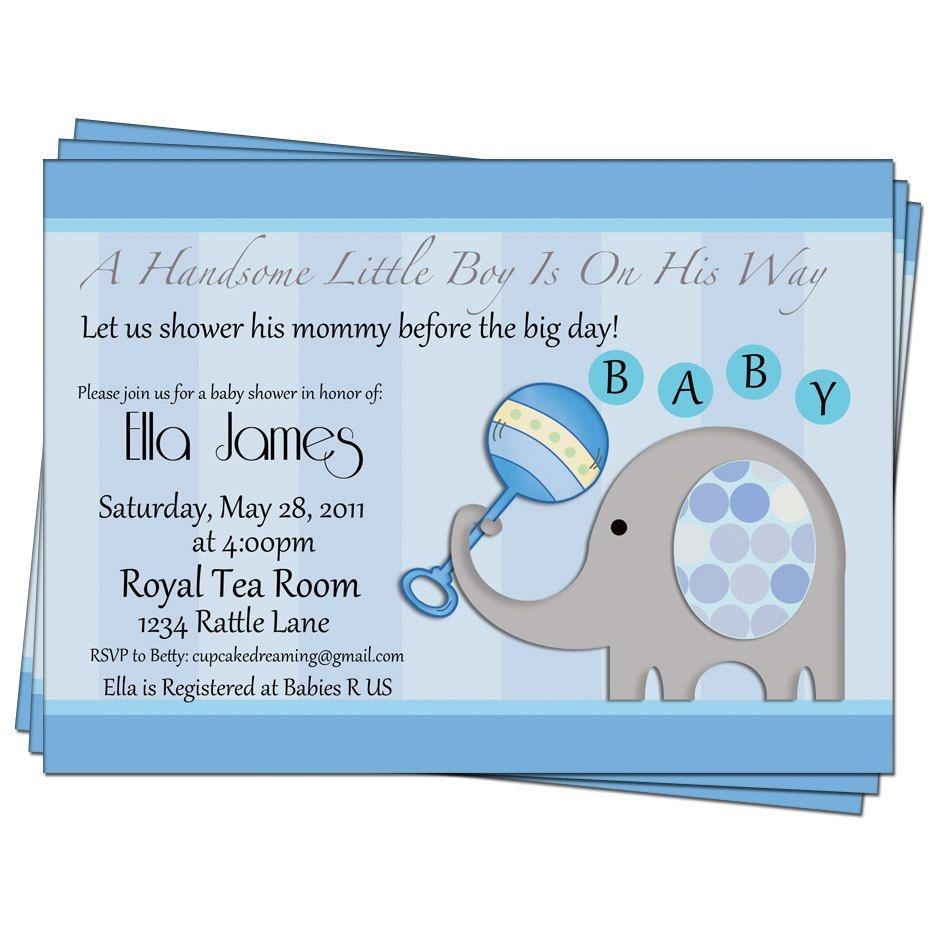Party Invitation,baby Boy Shower Invitation Elephant Printable - Free Printable Elephant Baby Shower Invitations