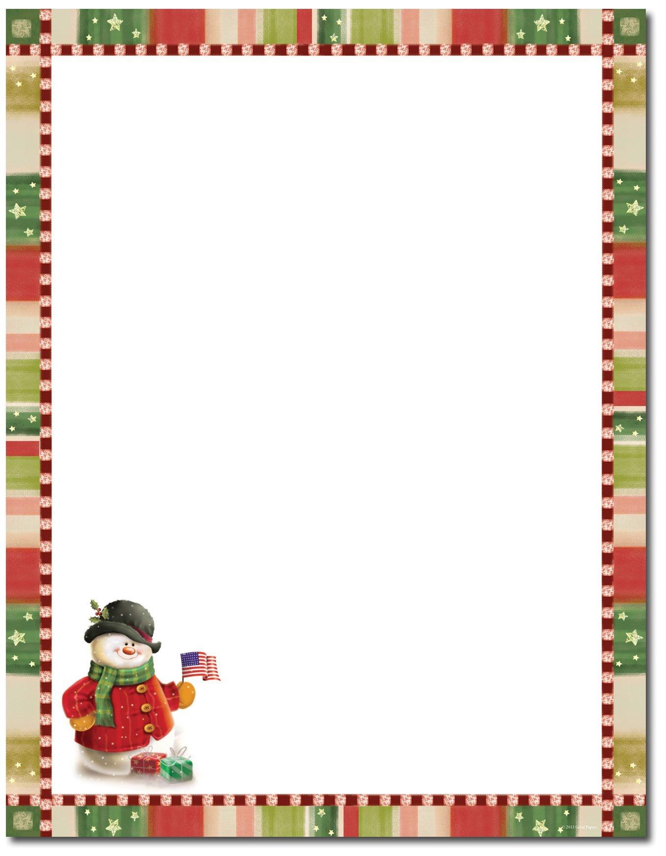 Patriotic Snowman Letterhead | Christmas Stationery | Christmas - Free Printable Christmas Letterhead