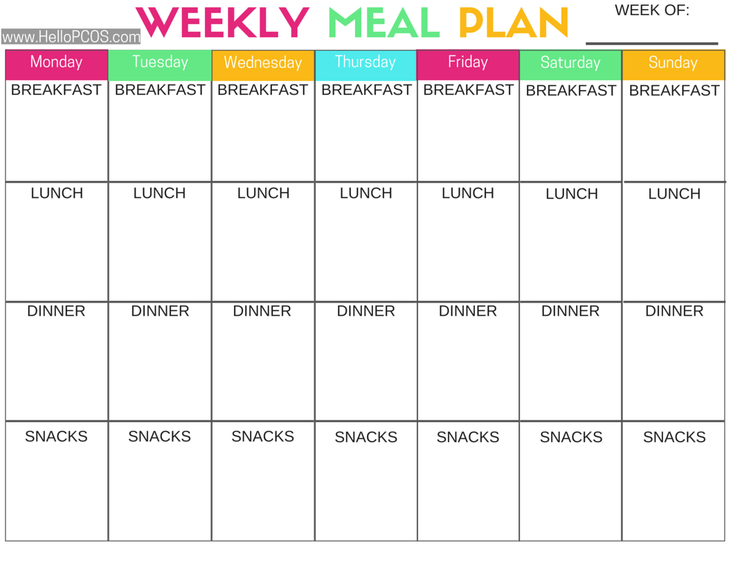 Pcos Diet And Nutrition | Foods, Tips, And Printables - Free Printable Meal Plans For Weight Loss