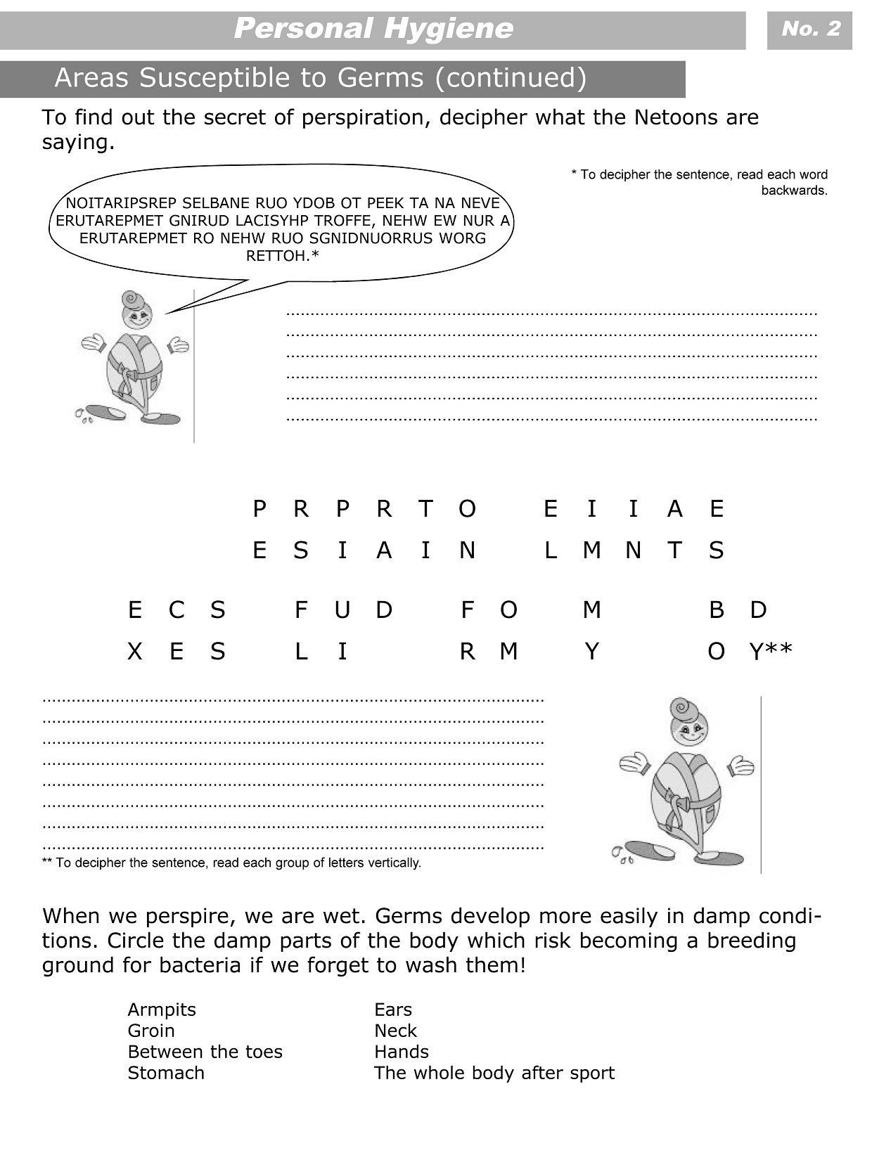Personal Hygiene Worksheets For Kids Level 3 2 | Girls Guards - Free Printable Personal Hygiene Worksheets