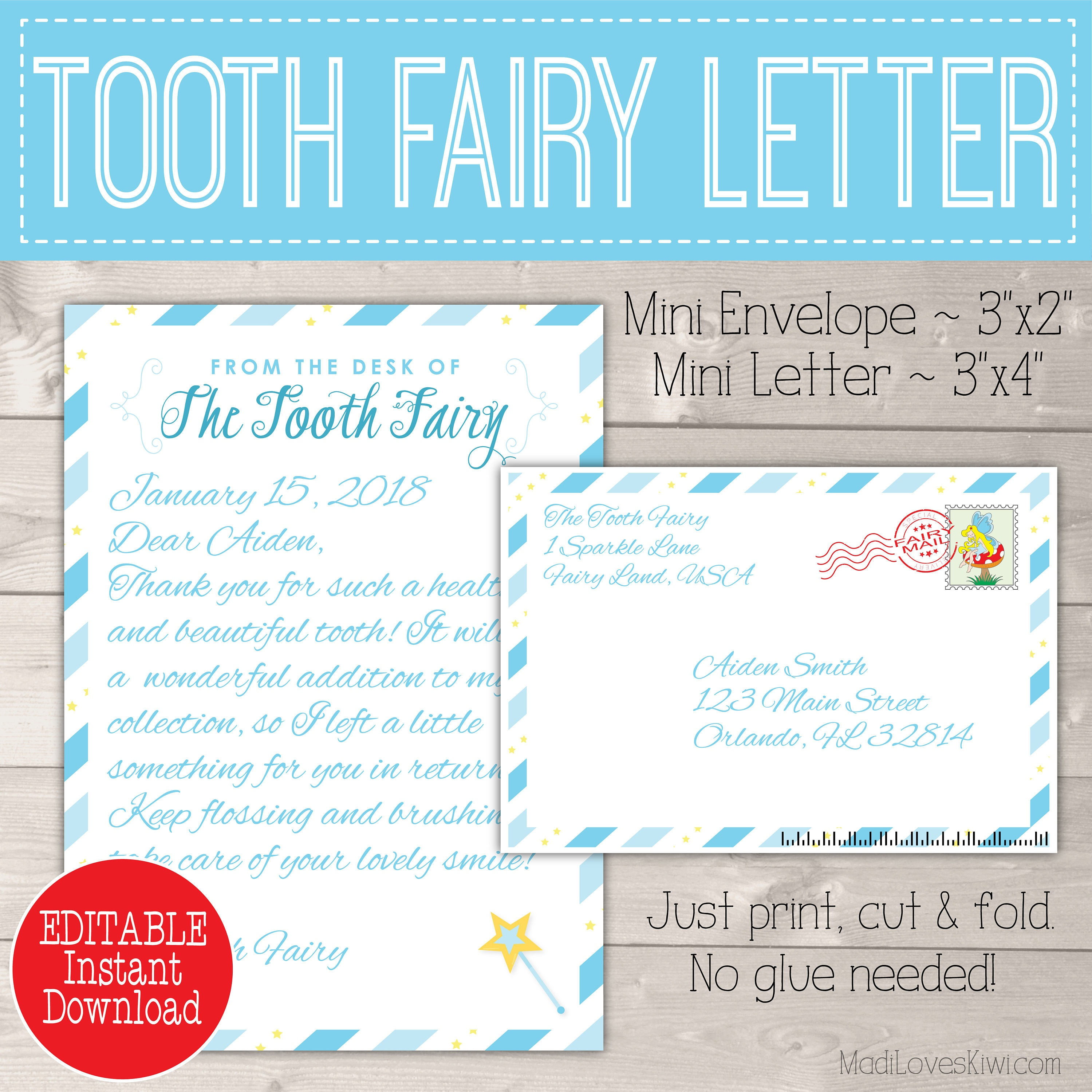 Personalized Tooth Fairy Letter Kit Boy Printable Download | Etsy - Tooth Fairy Stationery Free Printable