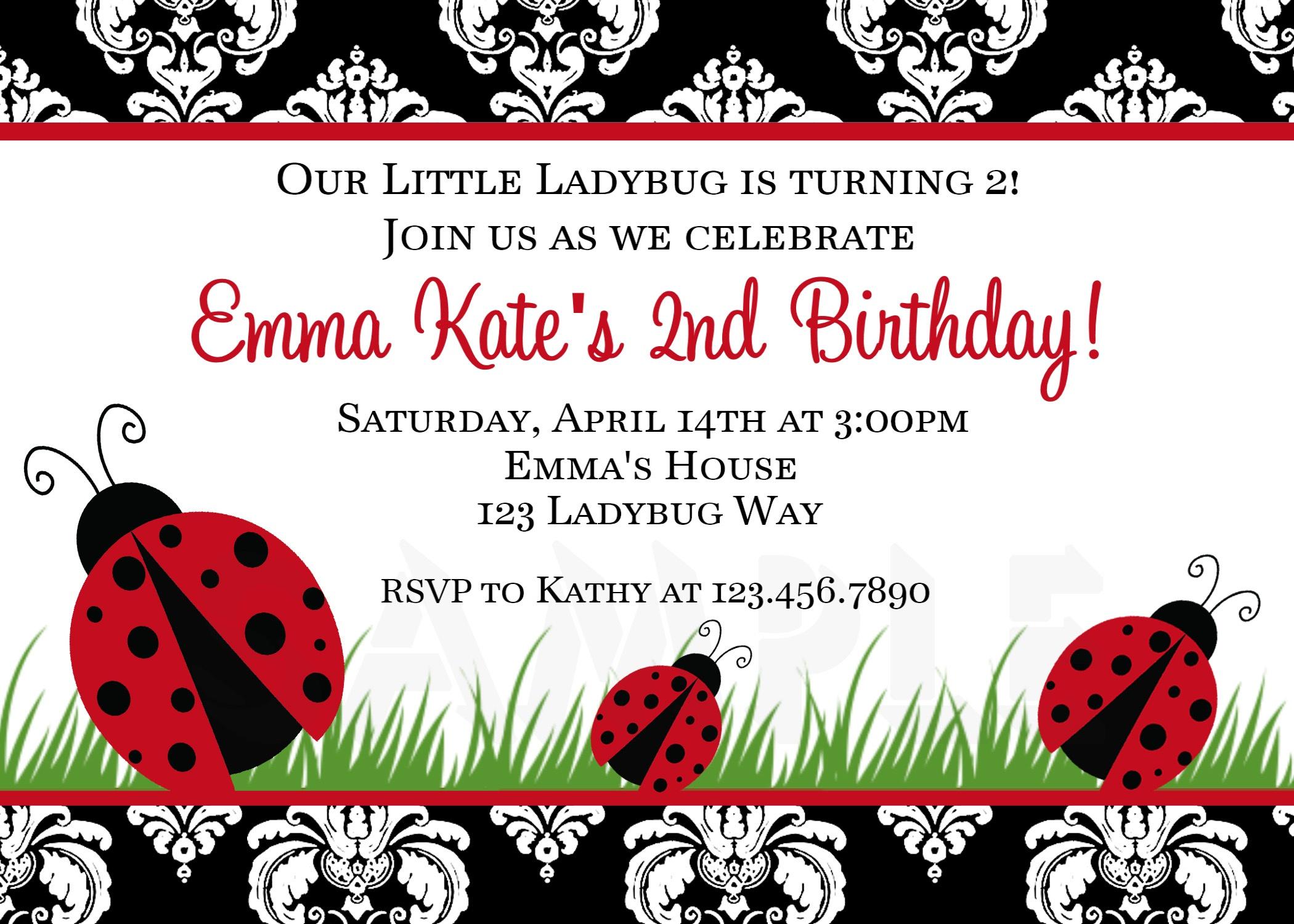 Photo : Printable Birthday Invitations Ladybug Image - Free Printable Ladybug Invitations