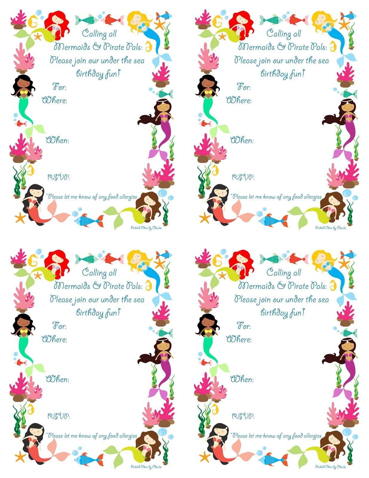 Pickled Okracharlie: Mermaid Bithday Party Invitations, Free - Mermaid Party Invitations Printable Free