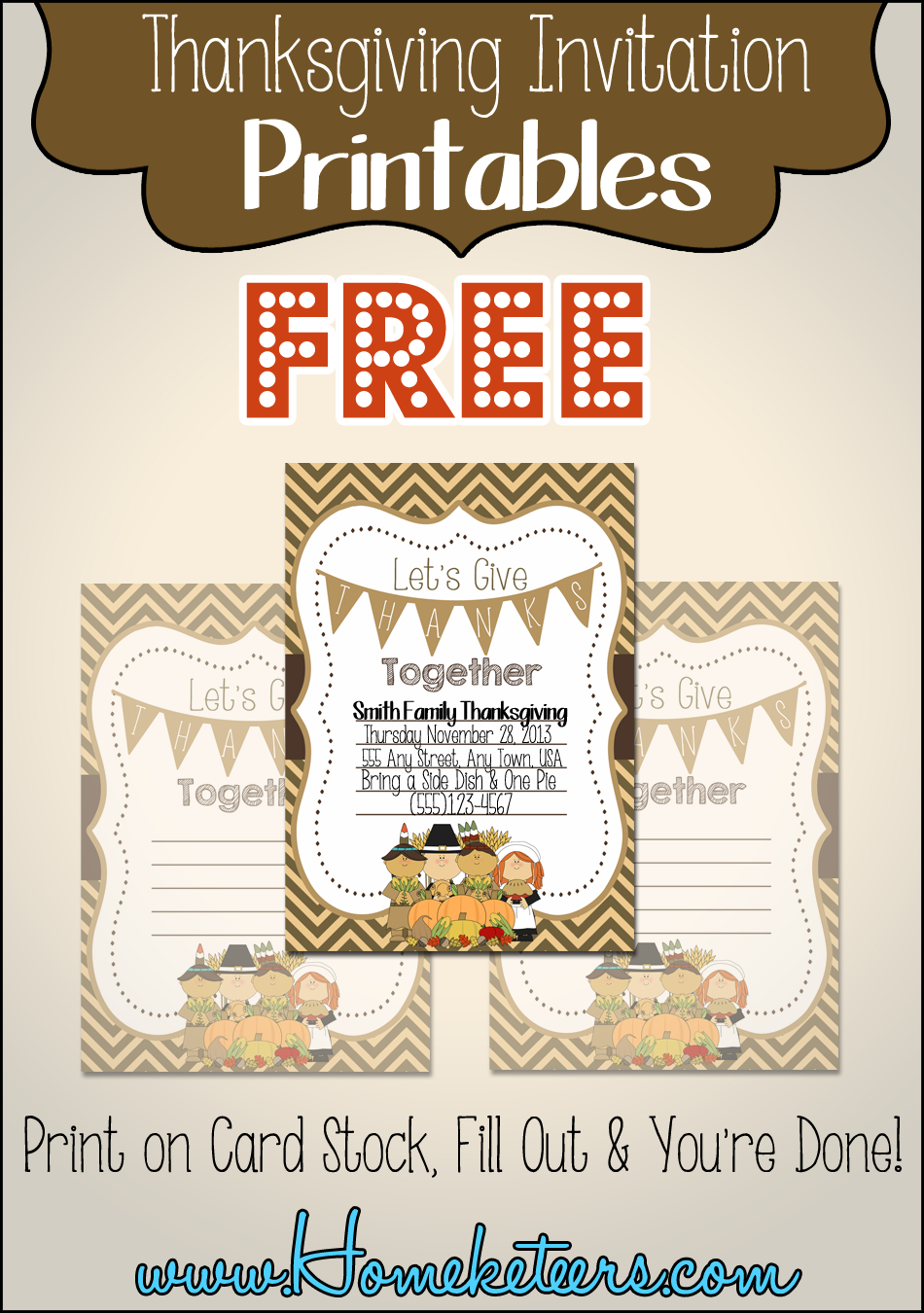 Pilgrim Thanksgiving Invitations ~ Free Printable - Free Printable Thanksgiving Invitations