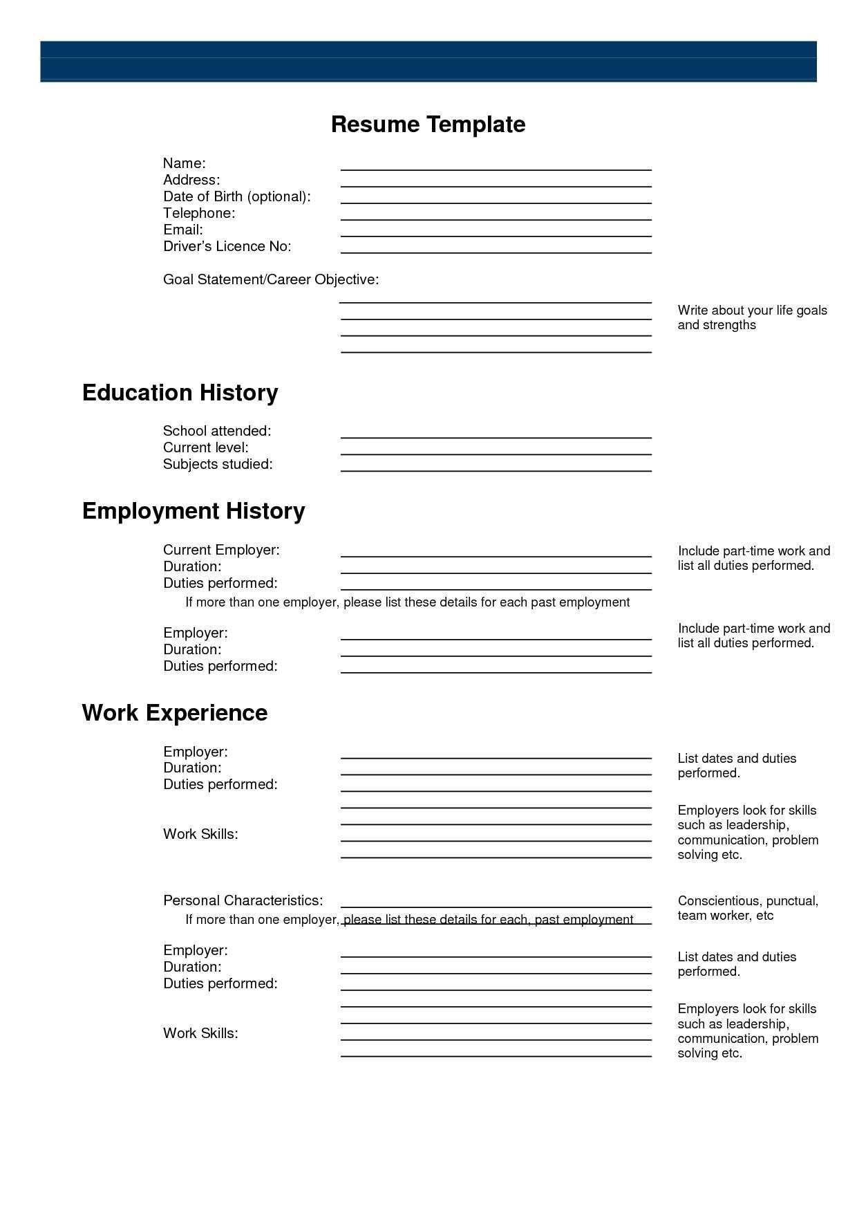 Pinanishfeds On Resumes | Free Printable Resume, Free Printable - Free Printable Blank Resume