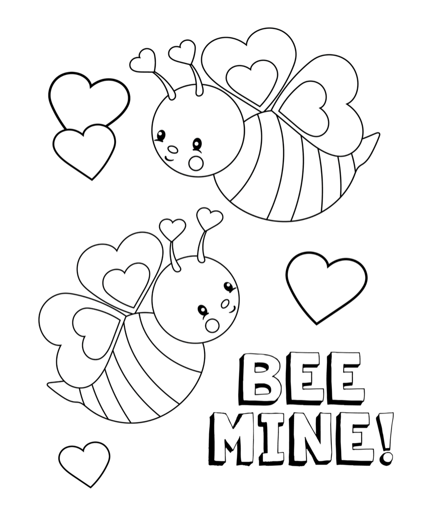 Pinbobo's Beeswax On Valentine's Day Free Coloring Page - Free Printable Valentine Coloring Pages