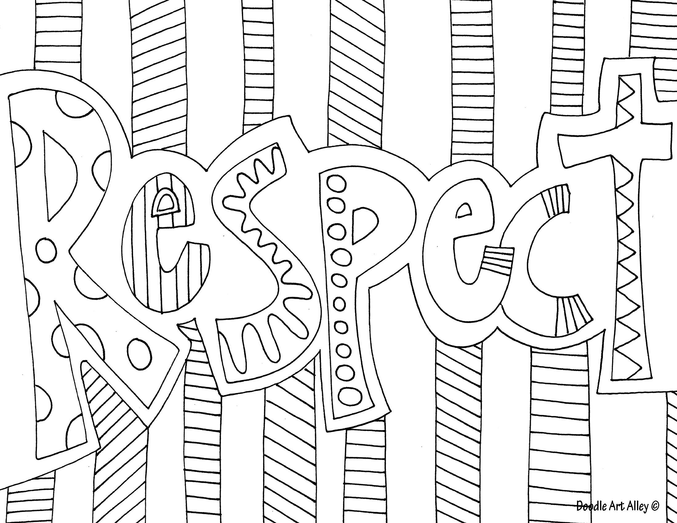 Pinbrittany Jones On Lettering | Doodle Art, Adult Coloring - Free Printable Coloring Pages On Respect