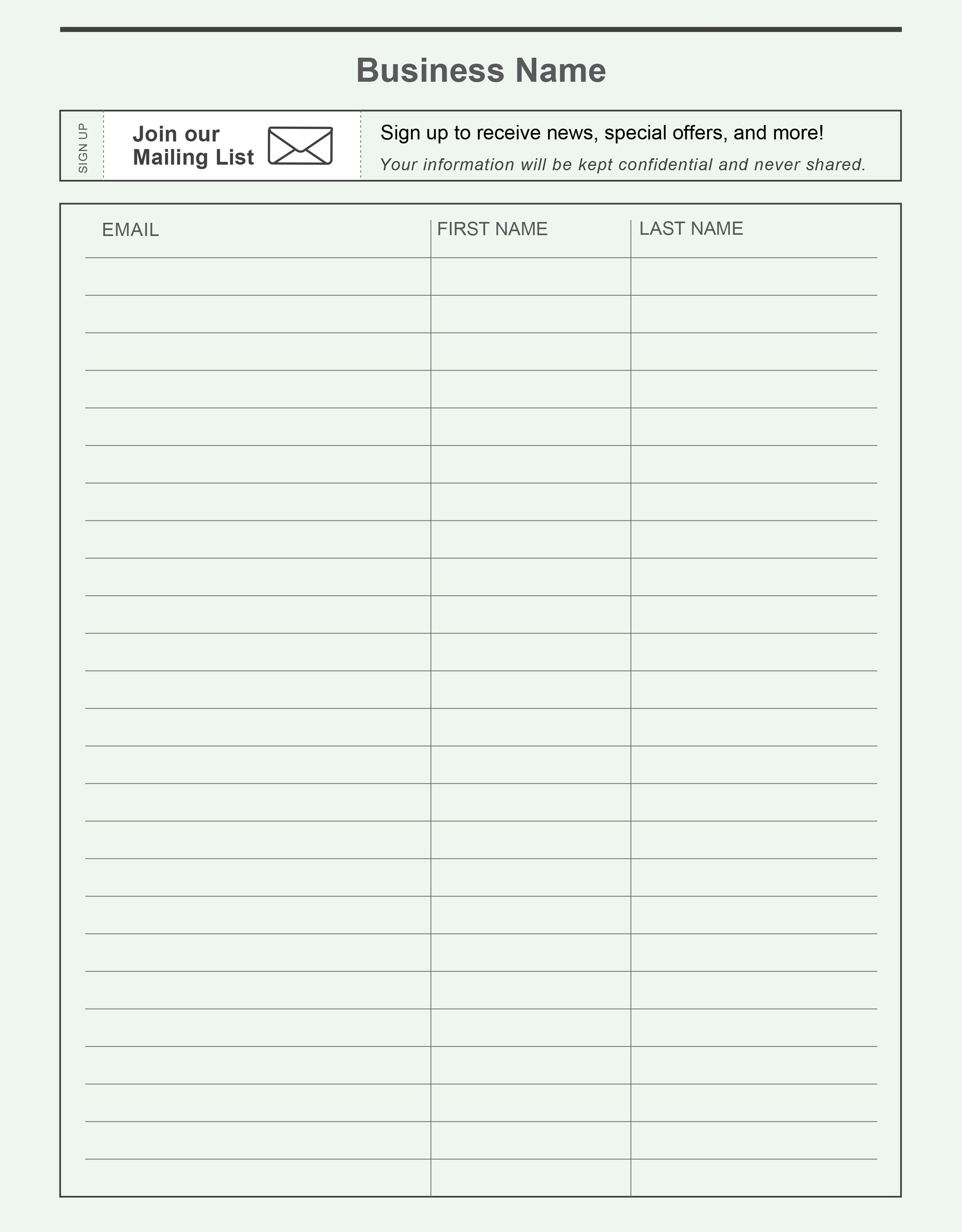 Pinconstant Contact On Grow Your Email List | List Template - Free Printable Sign Up Sheet