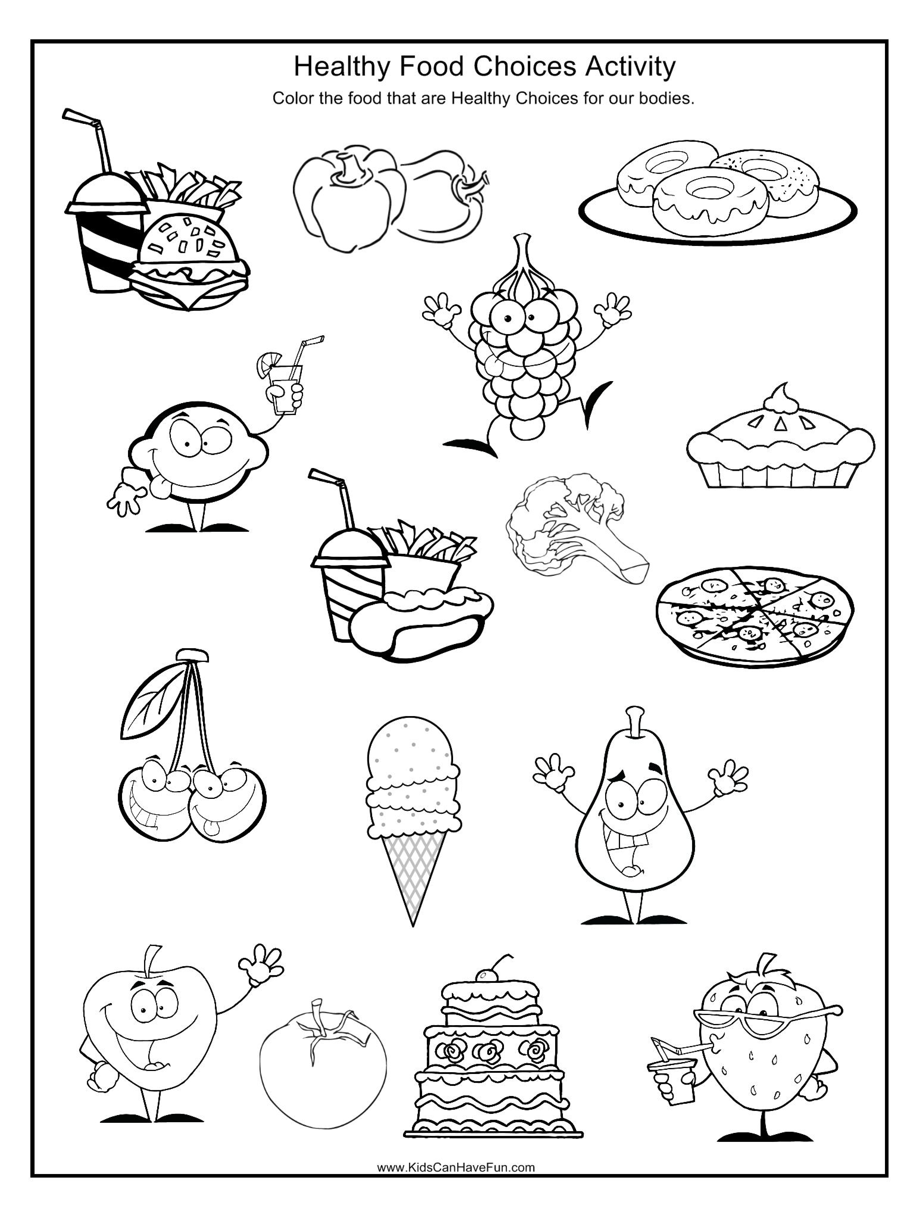Pindebbie Yoho On Coloring Sheets | Healthy, Unhealthy Food - Free Printable Healthy Eating Worksheets