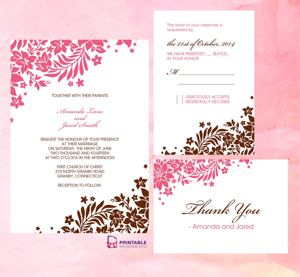 Pink And Brown Foliage Wedding Invitation | Free Printable Wedding - Free Printable Wedding Invitation Kits