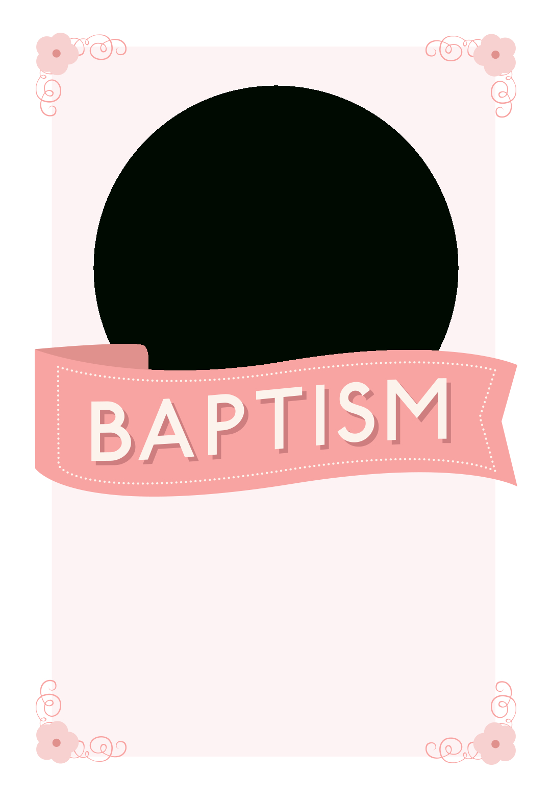 Pink Ribbon - Free Printable Baptism & Christening Invitation - Free Printable Baptism Greeting Cards