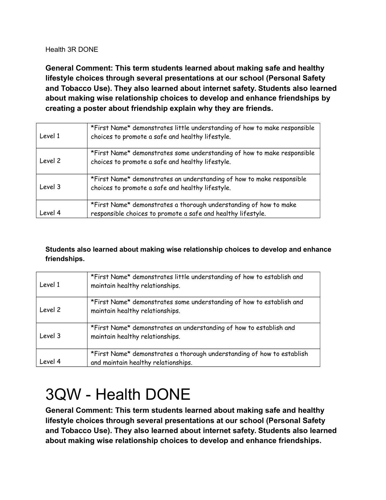 Pinlucy Waiharo On Health | Report Card Comments, Report Writing - Free Printable Report Card Comments