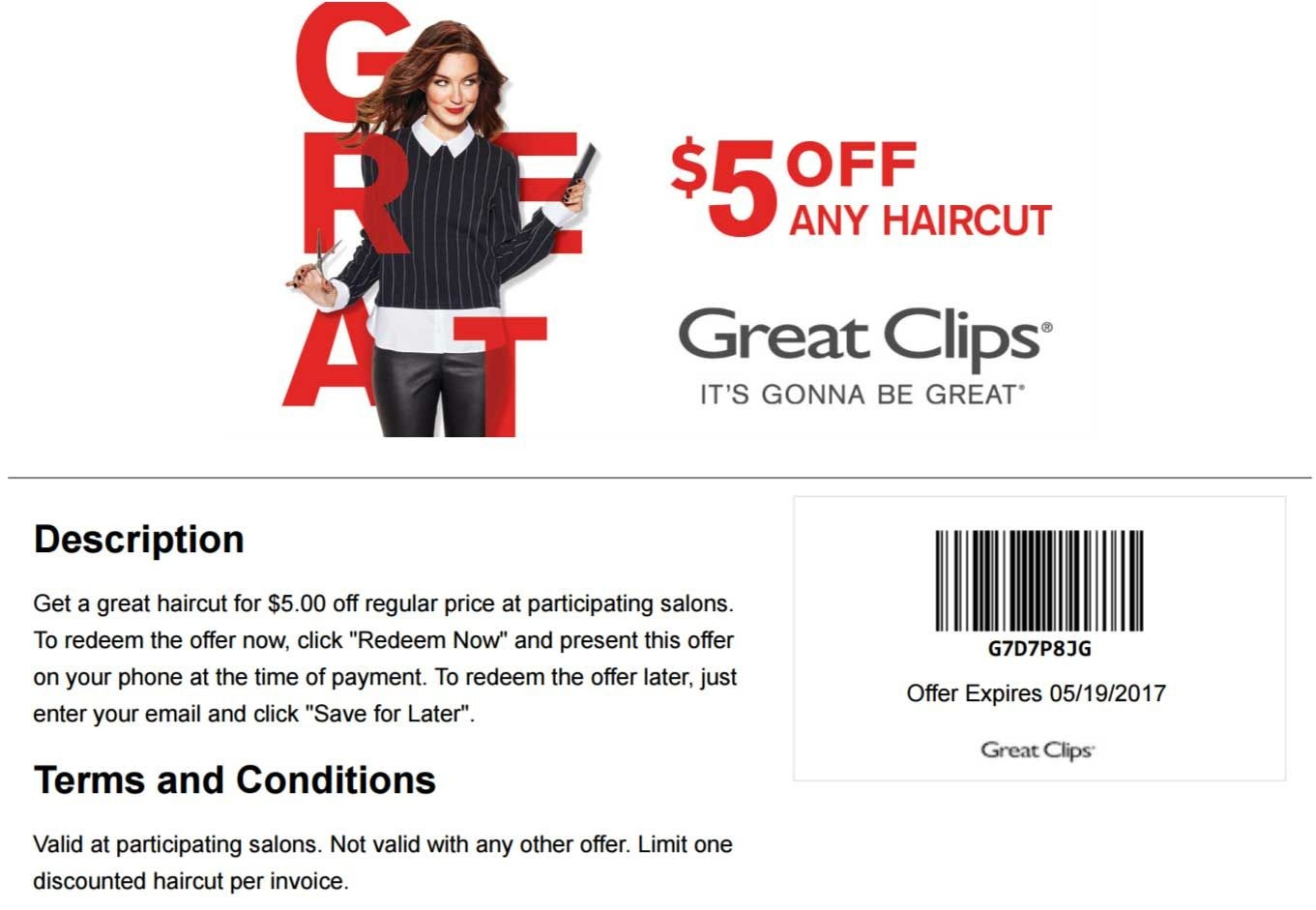 Pinned April 27Th: $5 Off A Haircut At #greatclips #coupon Via The - Great Clips Free Coupons Printable