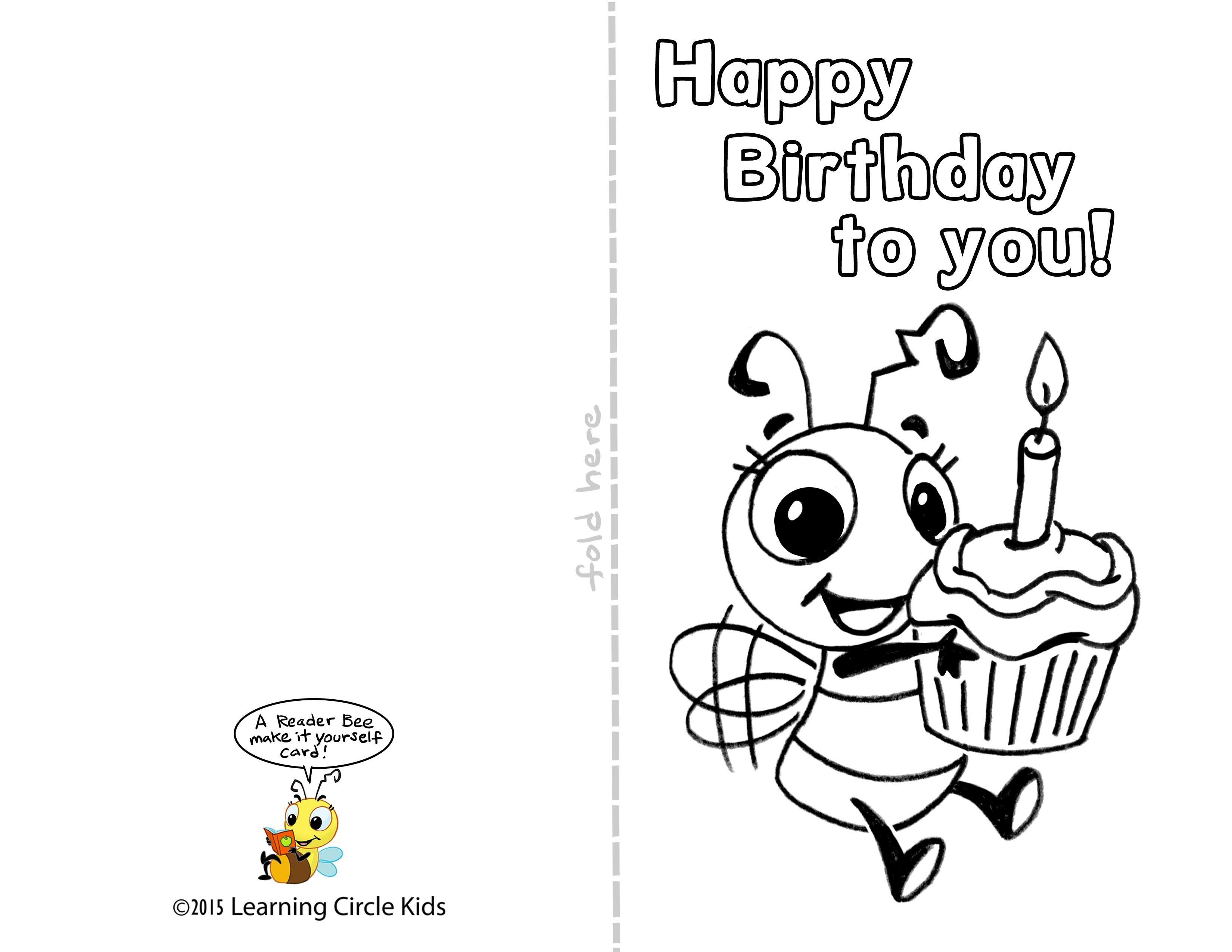 Pinreader Bee On Birthday Celebration - Bee Style | Free - Free Printable Bday Cards