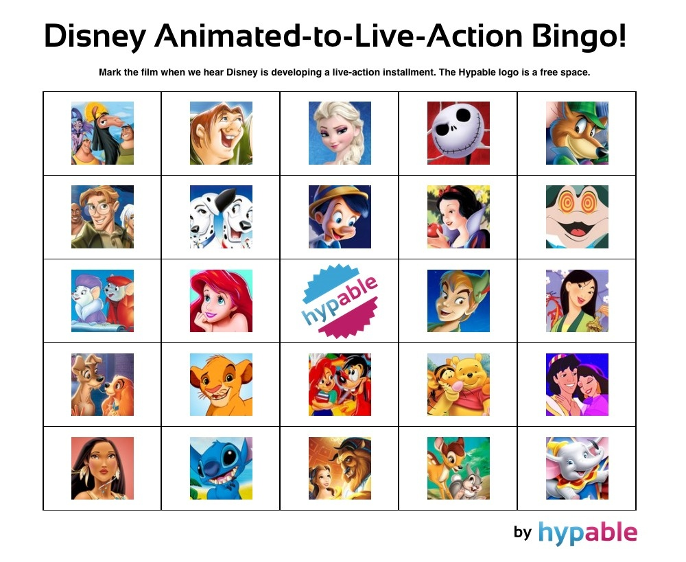 Play Our 'disney Animated-To-Live-Action' Bingo Game! | Hypable - Free Printable Disney Stories