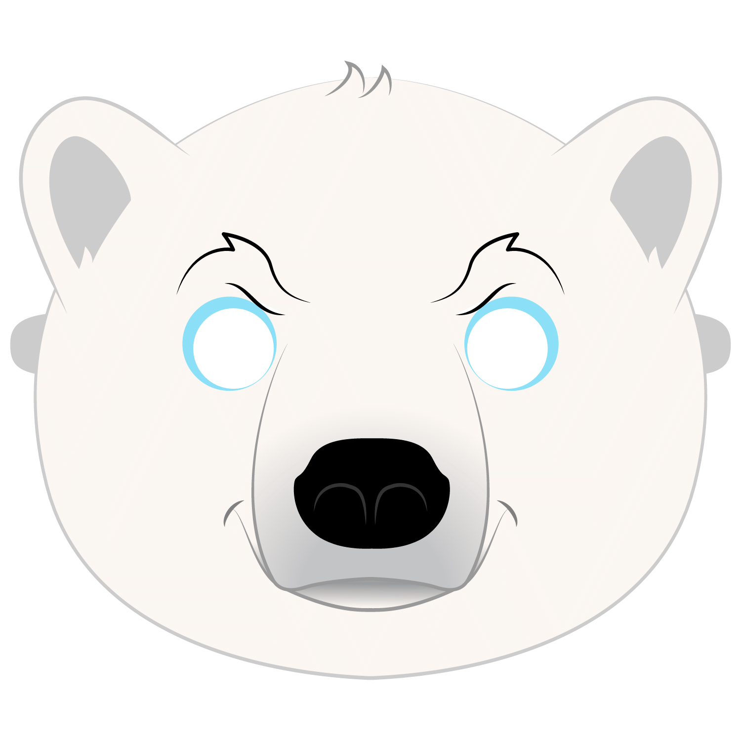 Polar Bear Mask Template | Free Printable Papercraft Templates - Free Printable Bear Mask