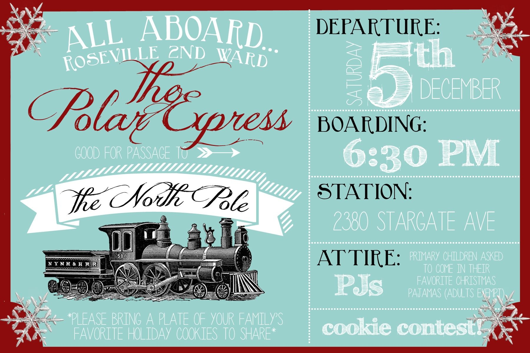 Polar Express Party Invitation | Christmas | Polar Express Christmas - Free Printable Personalized Christmas Invitations