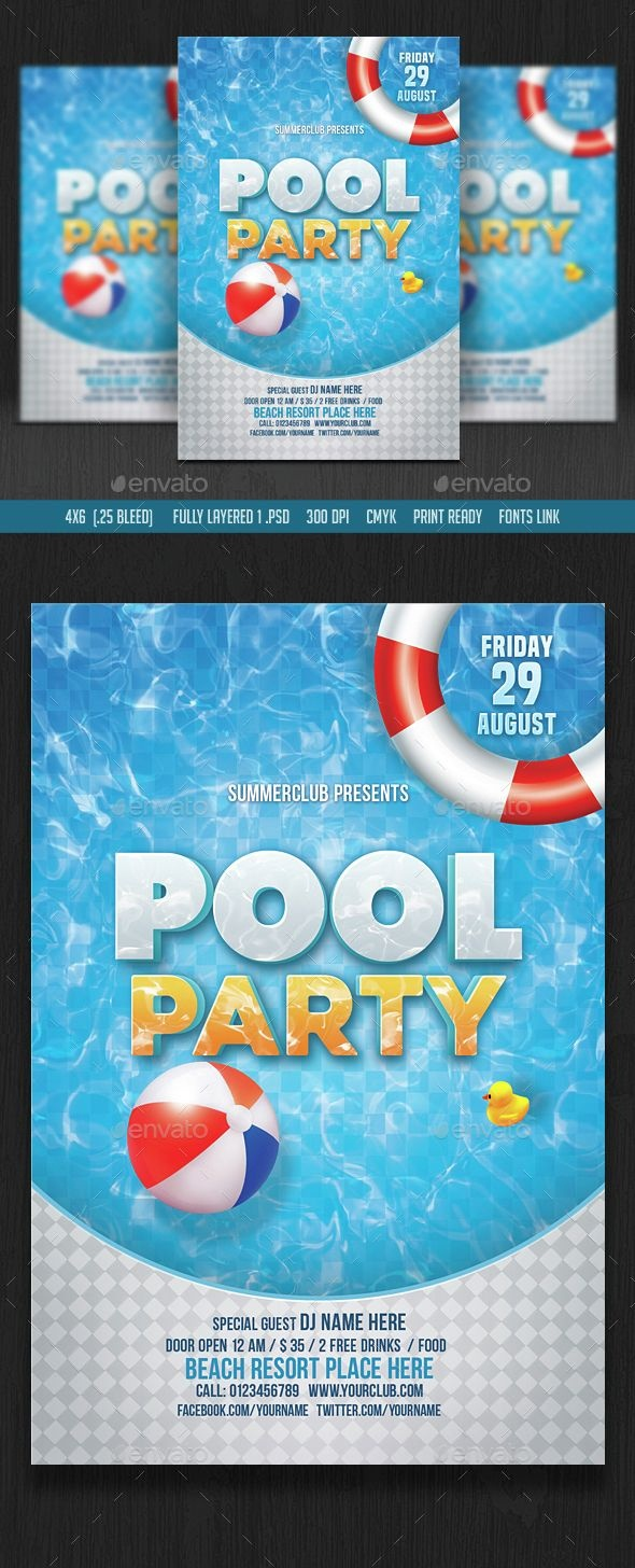 Pool Party Flyer | Design Inspiration | Party Flyer, Pool Party - Pool Party Flyers Free Printable